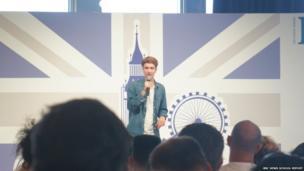 Luke Newberry on stage