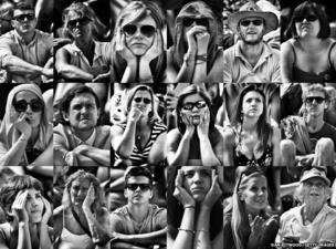 Tennis fans watch Britain's Andy Murray (Note: Composite images were processed using digital filters)