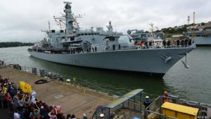 HMS Somerset returns to Plymouth
