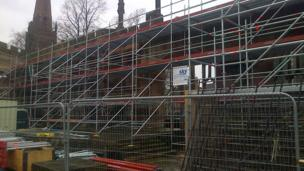Scaffolding at Coventry Cathedral