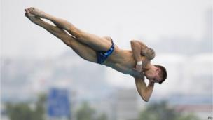 Russia's Viktor Minibaev in the team event at the Diving World Cup, Shanghai