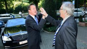 The President of the European Commission Jean-Claude Juncker (right) greets the British Prime Minister, David Cameron as EU leaders met in Brussels, Belgium
