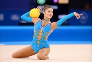England's Lynne Hutchison competes in the rhythmic gymnastics