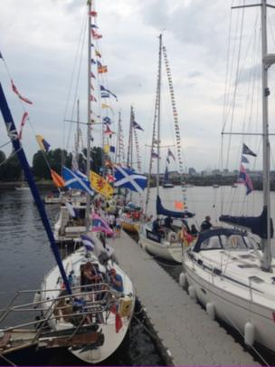 Boats berthed at Pacific Quay