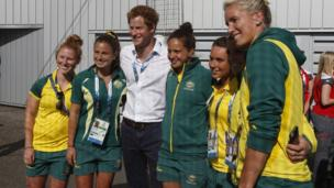 Prince Harry with South African hockey players