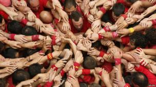 "a human tower called ""castells"""