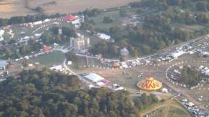 Aerial photo of festival site from police helicopter