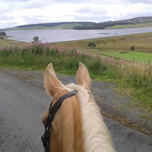 Approaching Llyn Brenig on horseback