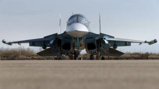 A Russian Sukhoi Su-34 fighter jet at the Hmeymim air base, near Latakia in Syria