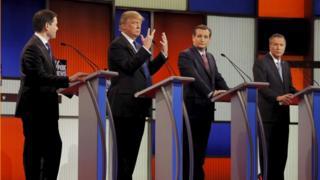 Donald Trump looks at his hands at the Fox debate