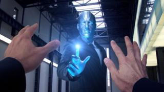 Robot man repelling human