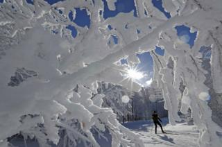 A cross-country skier enjoys a cold and sunny winter