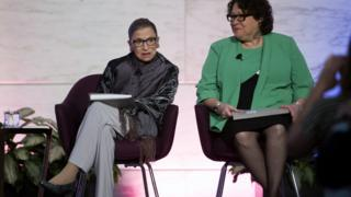 Supreme Court Justices Ruth Bader Ginsburg (left) and Sonia Sotomayor (right)
