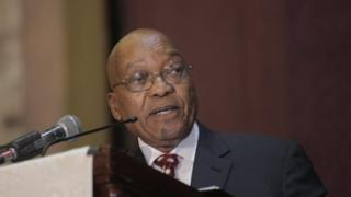 South African President Jacob Zuma speaks to delegates at the Harare International Conference Centre in Harare