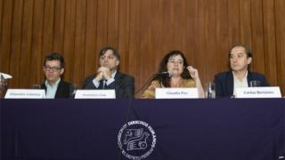 Members of the Inter-American Commission on Human Rights (IACHR) at a press conference in Mexico City (17/08/2015)
