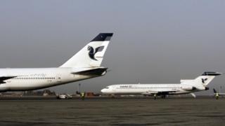 Iran Air aircraft on the tarmac at Tehran