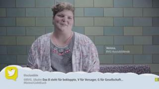 A BVG employee reading out a tweet in one of the videos
