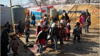 Syrian refugee children at a camp in Lebanon.