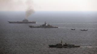 HMS St Albans escorts the Russian Admiral Kuznetsov