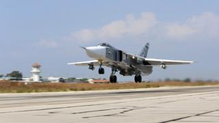 A file picture taken on October 3, 2015 shows a Russian Sukhoi Su-24 bomber taking off from the Hmeimim airbase in the Syrian province of Latakia.