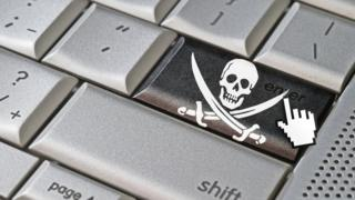 Skull and crossbones image on a keyboard