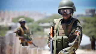 AU soldiers patrol street in Somalia