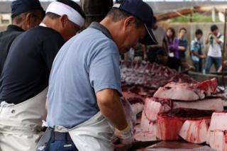 千葉県の港町で鯨肉を処理する漁協関係者(2009年7月)