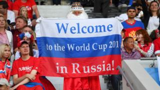 A Russia fan with his 2018 World Cup flag before the UEFA EURO 2016 Group B match between Russia and Wales