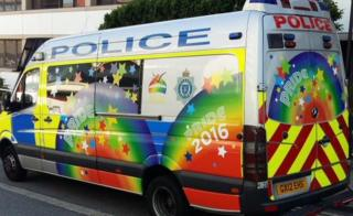 Sussex Police van decorated for Pride