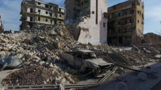 Bomb damage in Aleppo