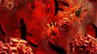 imagem ilustrativa de vírus e células