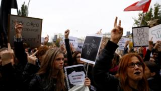 Women protest in Warsaw against the abortion bill