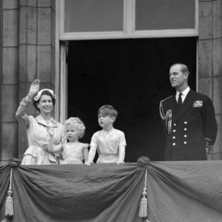 Prince Charles and Princess Anne with their parents, Queen Elizabeth II and Duke of Edinburgh, on the balcony of Buckingham Palace