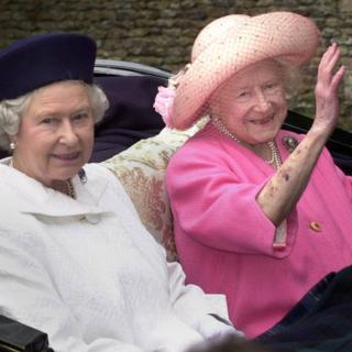 Queen Elizabeth II (left) and the Queen Mother leaving church by horse-drawn carriage on the Sandringham Estate, Norfolk