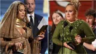Beyonce and Adele at the 2017 Grammys