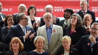 Shadow Health Secretary Heidi Alexander stands beside Jeremy Corbyn (centre) during a referendum campaign photocall earlier this month