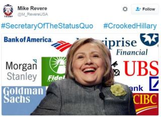 Trump supporter meme linking Hillary Clinton to banks