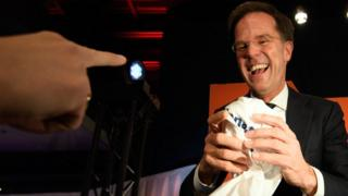 Dutch Prime Minister Mark Rutte is given a T-shirt following his victory in the Dutch general election on March 15, 2017 in The Hague, Netherlands