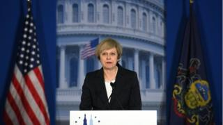 Theresa May gives her speech in Philadelphia