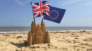 The Union flag and the European Union flag on a beach
