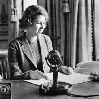 Princess Elizabeth after she broadcast on BBC Radio's Children's Hour from Buckingham Palace