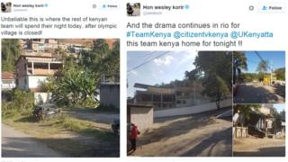 Wesley Korir tweets with photos of the place where Kenyan athletes have been housed after the closure of the Olympic Village