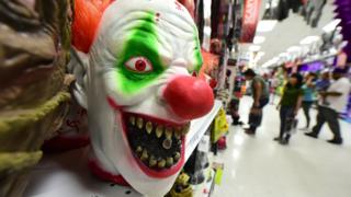 Scary clown mask in a California shop, file pic