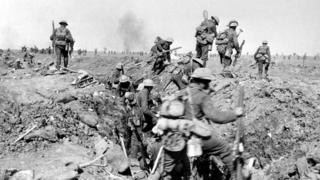 WW1 Allied troops leave a trench in France during World War One