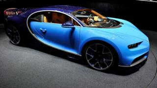 The Bugatti Chiron is presented during the Bugatti press conference as part of the Geneva Motor Show 2016 on March 1, 2016
