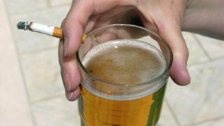 Pint of beer and a cigarette