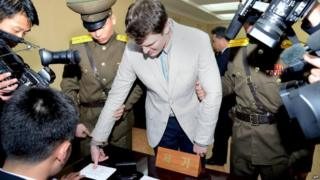 Official photo of trial of Otto Warmbier 16/03/2016