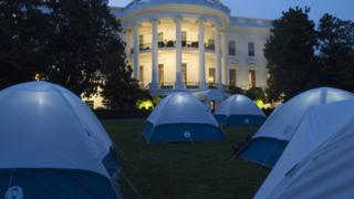 Tents for Girl Scouts to spend the night on the South Lawn of the White House in Washington, DC, June 30, 2015. Fifty Girl Scouts will spend the night on the White House lawn in camping tents as part of the