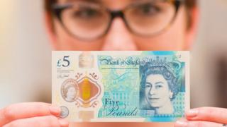 The new polymer £5 note