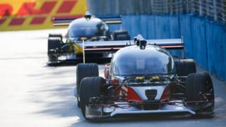 Driverless Roborace automobile crashes during speed in Buenos Aires